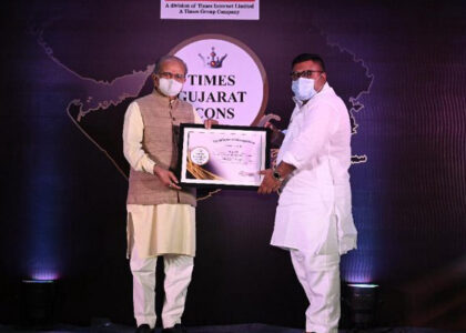 Mr. Tanuj Patel, Founder of Roots Foundation was awarded the Times Gujarat Icon 2020 Award